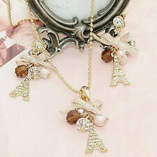 Popular Eiffel Tower Pendant Bow Necklace Gold Plated Long Chain Fashion Jewelry