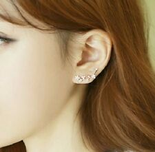 CRYSTAL FLOWER STUD EAR CUFF EARRINGS