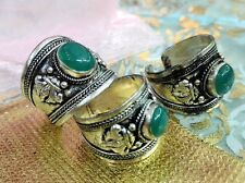 Green Jade Bead Old Tibet Silver Ring One pieces