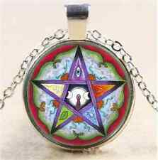 Plants,Goddess Pentagram Cabochon Glass Tibet Silver Chain Pendant Necklace