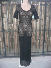 NWT $88 FREE PEOPLE Too Cool Sheer Lace Maxi Slip Dress Black XS