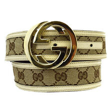 Authentic GUCCI GG Pattern Buckle Belt Canvas Leather Brown Italy 01W364
