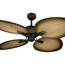 "NEW Martec Oasis 52"" Palm Leaf Tropical Ceiling Fan Old Bronze MOF134OB"