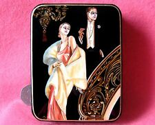 Russian FEDOSKINO LACQUER Box Arrow Collar Ad  J.C. Leyendecker RETRO signed ART