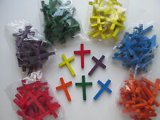 100 Colored WOOD CROSS BEADS wooden crosses FREE S/H religious crafts