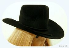 "BLACK Western COWBOY DOLL HAT fits 18"" AMERICAN GIRL Doll Clothes Accessory"