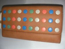 NEW FOSSIL LADIES LEATHER WALLET ABBT NVLT FLPCLTCHCA  CAMEL COLOR