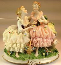 Vintage  UNTER WEISS BACH  Dresden Porcelain Two Ladies Lamb Lace Figurine