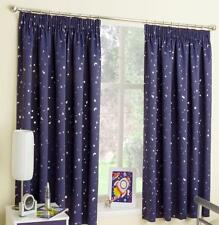 MOON & STARS Fully Lined Ready Made Tape Top Curtains - Children Kids Teenagers