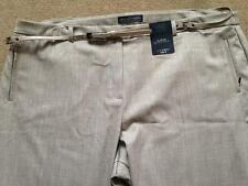 BNWT M&S Collection Light Brown Check Slim Leg Smart Belted Trousers 22 Medium