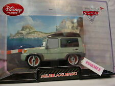 Disney PIXAR CARS 2 MILES AXLEROD 1:43✿Green Range Rover✿Collector Case