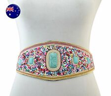 Women Lady Bohemian Boho turquoise Gemstone Stone Beads Wide retro Dress Belt