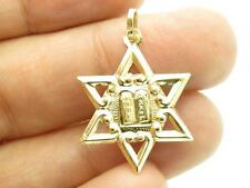 14k Yellow Gold Star of David 10 Commandment Design Charm Pendant Necklace Gift
