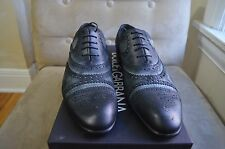 DOLCE & GABBANA BLACK SUEDE LEATHER WINGTIP BROGUES DRESS CASUAL SHOES 9.5 43.5