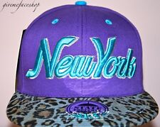 New York Leopard Snapback caps, NY dope flat peak baseball fitted hats purple