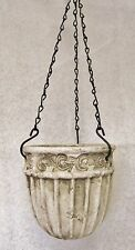 "ANTIQUED GREEK/VICTORIAN STYLE 7"" TERRA COTTA HANGING BASKET POT POTTERY PLANTER"