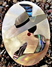 LADY ABALONE Mother Of Pearl Inlay Brooch Pin Pendant LARGE HAT COLORFUL