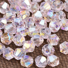 400pcs pink ab exquisite Glass Crystal 4mm #5301 Bicone Beads loose beads~