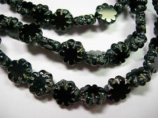 25 beads - Jet Black Travertine Czech Glass Flower Beads 9mm