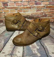 Lucky Brand Women  Brown Ankle Boots Straps Buckle Cute Size 8 1/2 Leather