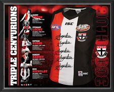 ST KILDA SIGNED FRAMED LIMITED TRIPLE CENTURIONS 300 GAME JUMPER HARVEY RIEWOLDT