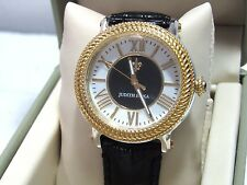 Judith Ripka Two-tone Diamonique Stainless Steel & Leather Watch Black