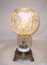 "ANTIQUE MARBLE AND BRONZE ABP CUT CRYSTAL GLASS TABLE LAMP 15"" TALL"