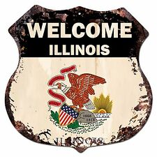 BP-0050 WELCOME ILLINOIS State Flag Shield Rustic Chic Sign Bar Shop Home Decor