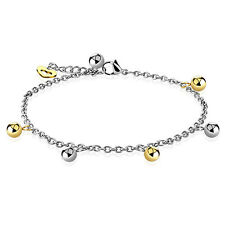 Gold and Silver Ball Beads with Heart Dangling Charm Chain Anklet or Bracelet