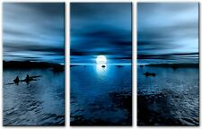 3 Panel Total Size 120x80cm Large ABSTRACT GICLEE DIGITAL ART RAVEN Blue