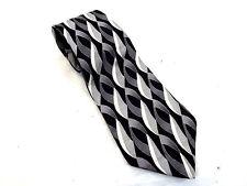 Oscar De La Renta Necktie Neck Tie, 100% Silk, Gray Graphic