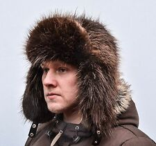 Brown Norwegian Beaver Fur Men's Russian Ushanka Trapper Aviator Hat