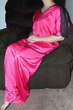 VTG Becky Sherpe Collectibles WOMENS PINK 2pc NYLON Pajama SET L VINTAGE