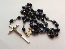 Vintage Italian Carnival Glass Rosary Beads With Crucifix