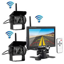 "2x Wireless IR Night Vision Truck Rear View Reverse Backup Camera +7"" Monitor"