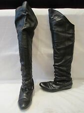 TED BAKER BLACK LEATHER OVER THE KNEE PULL ON BOOTS UK 4 (356)