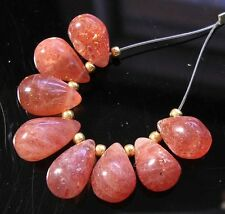 8 NATURAL GEMSTONE ORANGE SUNSTONE SMOOTH TEARDROP BRIOLETTE BEADS 8-10 mm  S5