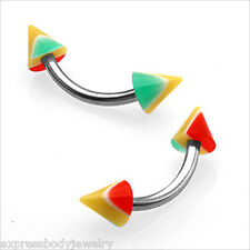 "PAIR Eyebrow Tragus Curved Barbell 16g  5/16"" RASTA SPIKE Red Green Yellow"