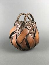 Antique Japanese Woven Bamboo Handmade Ikebana Basket from Estate