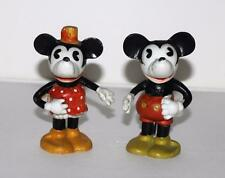 """DISNEY1930'sMICKEY&MINNIE MOUSE""""TOOTHBRUSH HOLDER""""BISQUE FIGURINES+JOINTED ARMS!"""