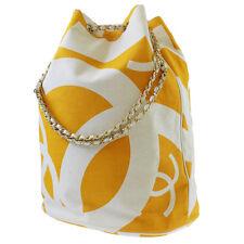 CHANEL CC Logos Chain Shoulder Bag Orange White Canvas Vintage Authentic #4658 W