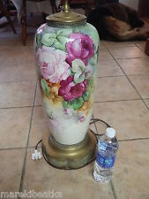 "ANTIQUE LIMOGES FRANCE HUGE HAND PAINTED ROSES 38"" LAMP, SIGNED BY A. MARTIN"