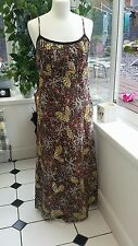 HOBBS Brown Orange Green Purple Yellow Gold Sequin Summer Dress. Size 8