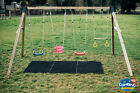 """Heavy Duty Quad Wooden Swing Set Pressure Treated 4"""" post 100mm climbing frame"""