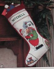 Christmas Traditions Santa Cross Stitch Stocking can be Personalized Claus