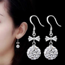 Elegant 925 Sterling Silver Shiny Natural Crystal Bowknot Ball Ear Drop Earrings