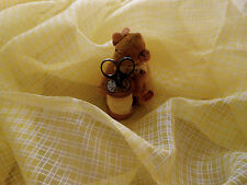 Antique Vintage Yellow Semi Sheer Check Plaid Organdy Fabric  ~ dolls bears