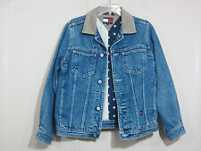 Vintage Tommy Hilfiger Jeans Women's Blue Cotton US Flag Lined Denim Jacket S
