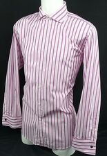 Simon Carter Carnaby Street Pink / White Striped Shirt French Cuffs - 17