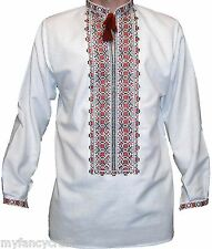 Handmade Embroidered Shirt Mens White Long Sleeve Natural Cotton Light Machinery